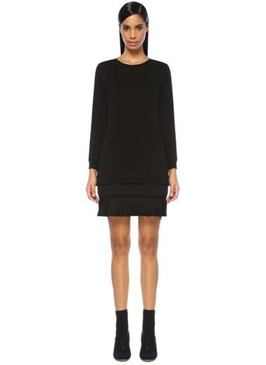 Beymen Collection Etek Ucu Pileli Uzun Kol Mini Elbise Siyah